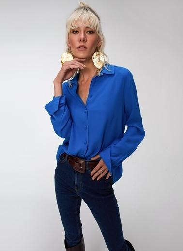 People By Fabrika Kaplama Düğmeli Gömlek Mavi